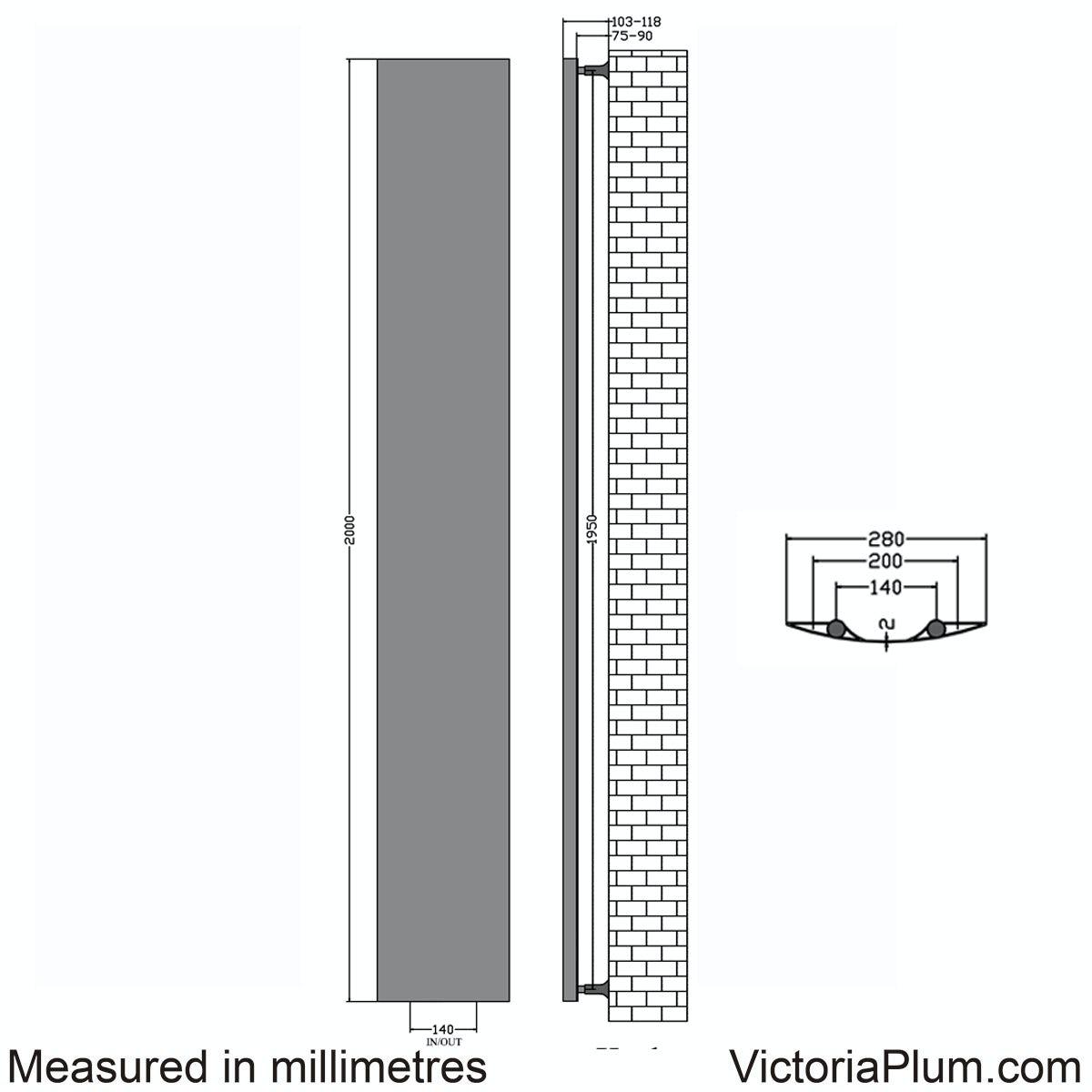 Dimensions for Korlea black vertical radiator 2000 x 280