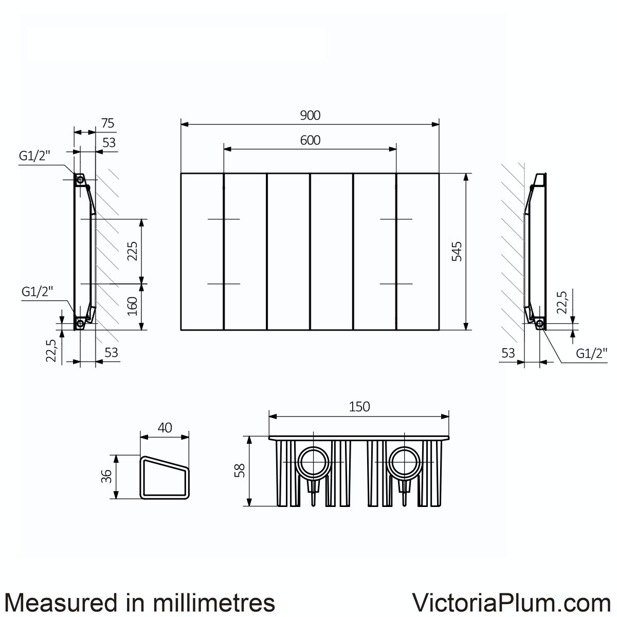 Dimensions for Terma Neo oyster grey horizontal radiator 545 x 900