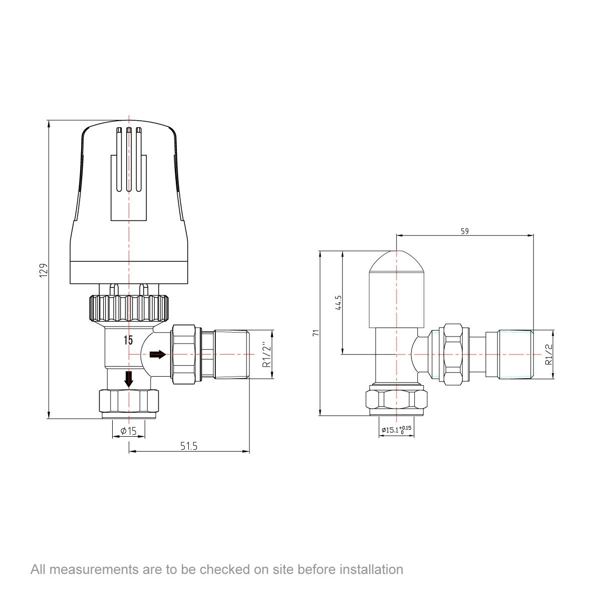 Dimensions for Orchard Thermostatic white angled radiator valves