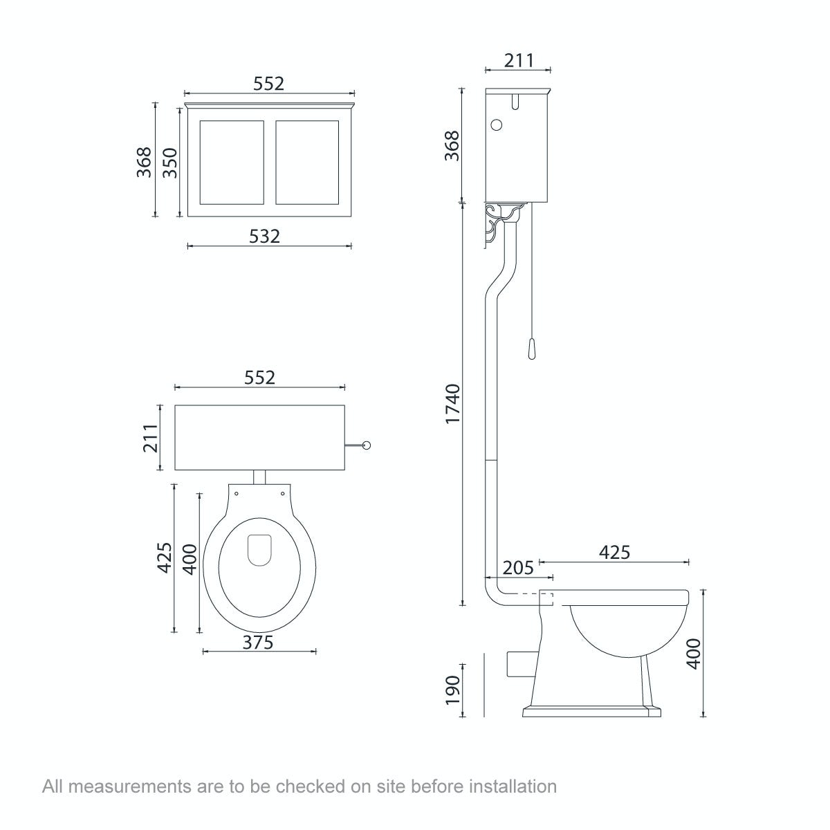 Dimensions for The Bath Co. Camberley high level toilet with white toilet box and seat