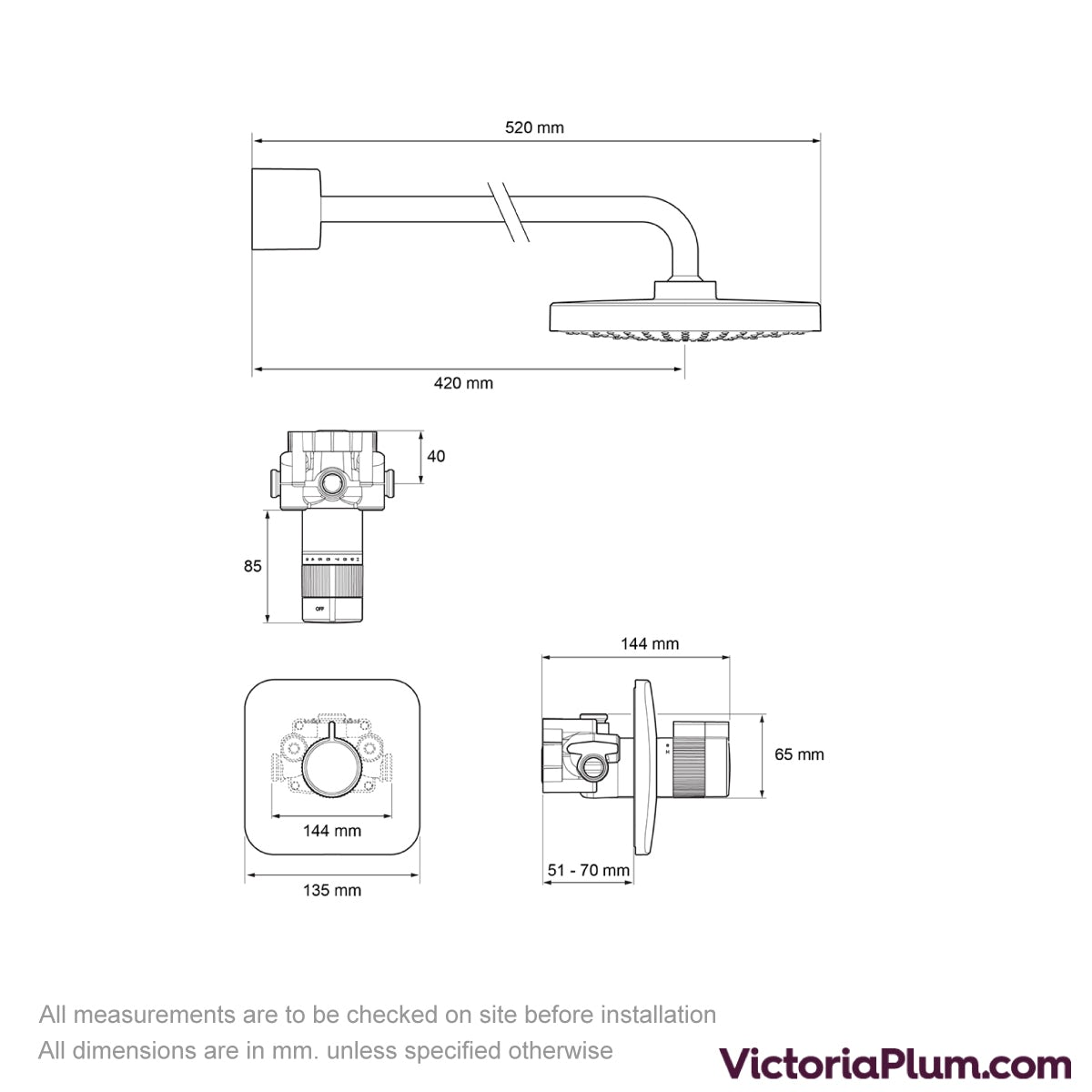 Dimensions for Mira Adept BIR thermostatic mixer shower