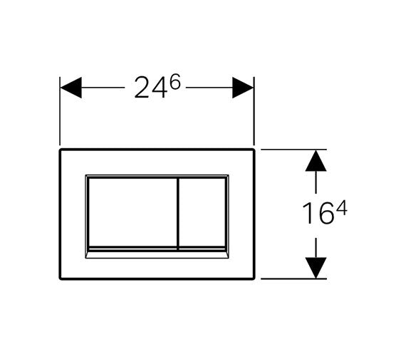 Dimensions for Geberit Sigma30 dual flush plate gloss and matt chrome