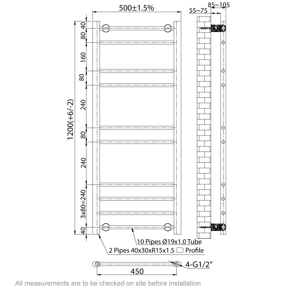 Dimensions for Clarity white heated towel rail 1200 x 500