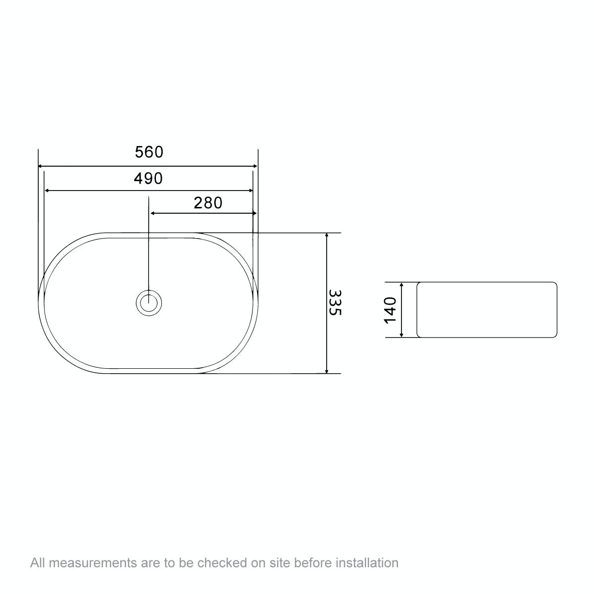 Dimensions for Mode Tate countertop basin 555mm