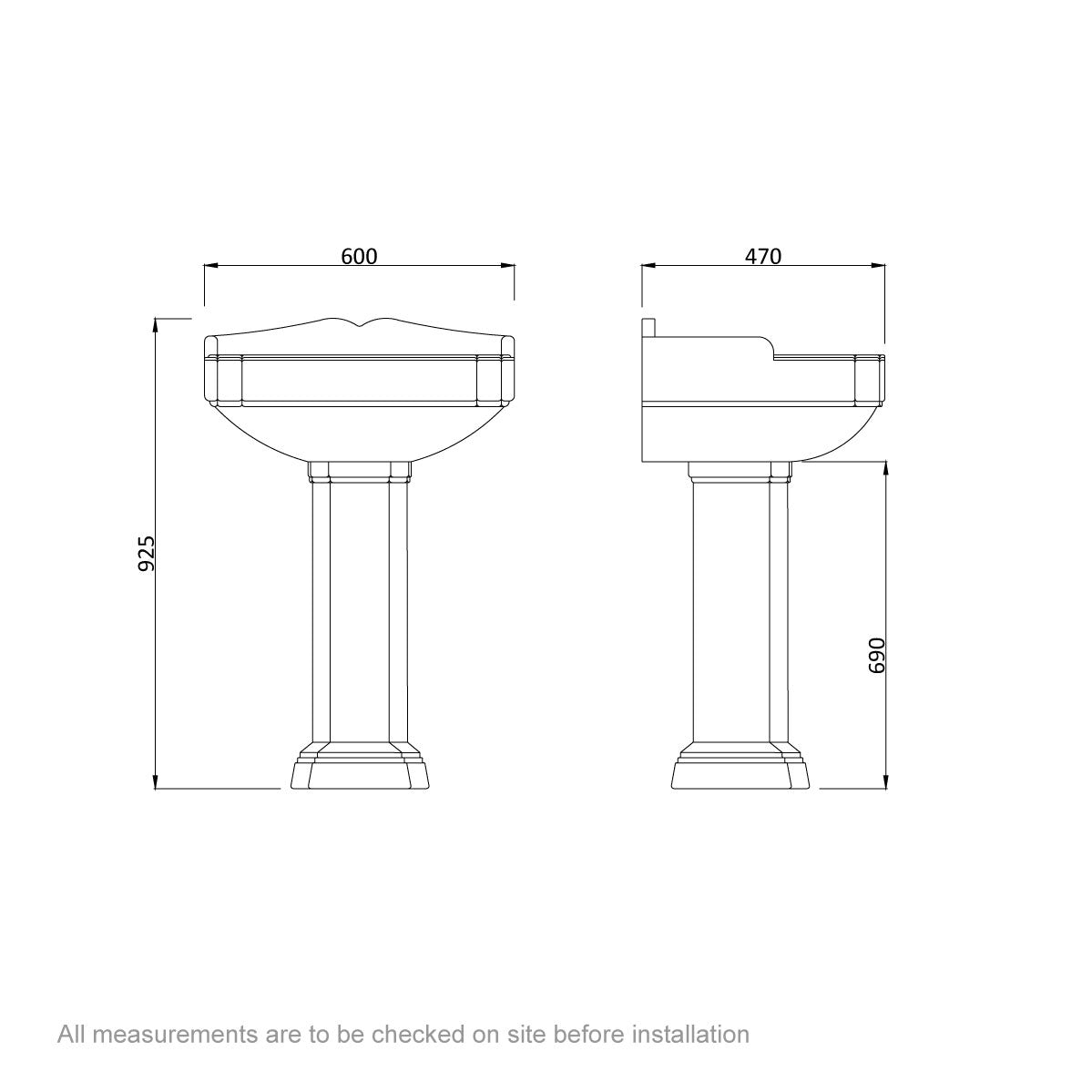 Dimensions for Winchester 2 tap hole full pedestal basin 600mm