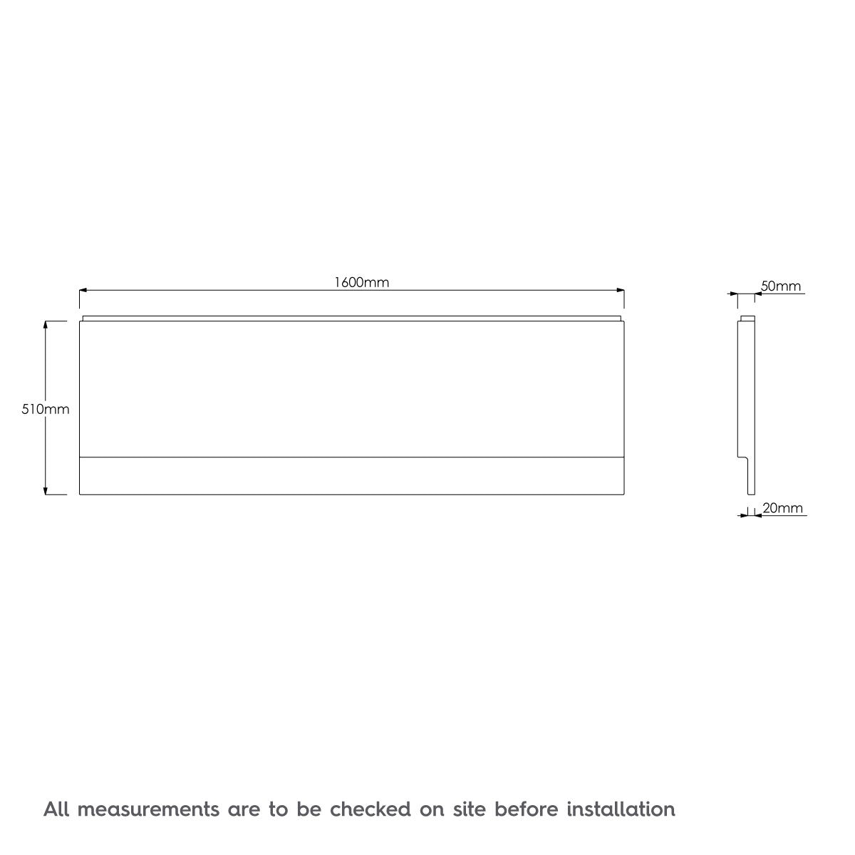 Dimensions for Orchard Acrylic straight bath front panel 1600mm