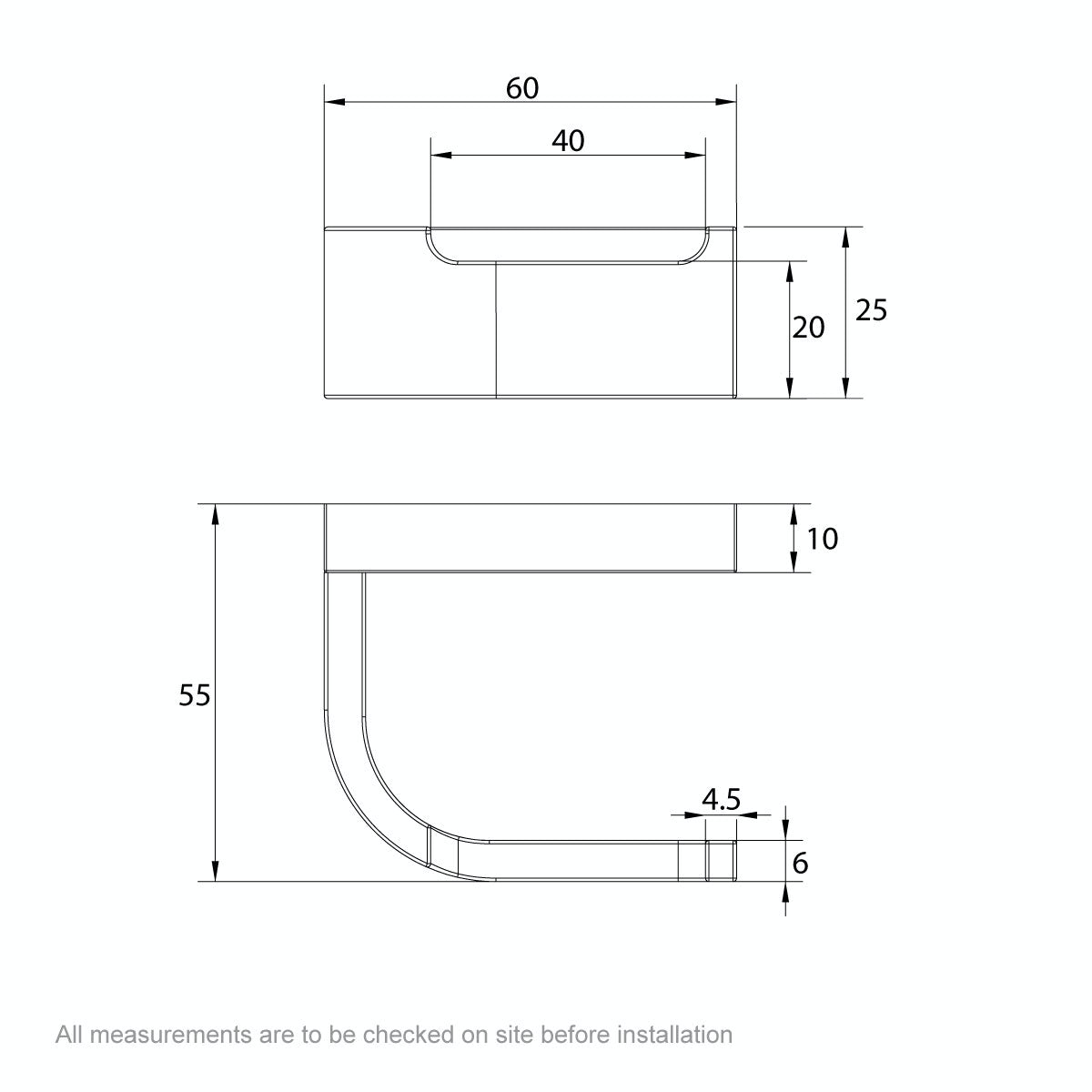 Dimensions for Mode Spencer robe hook