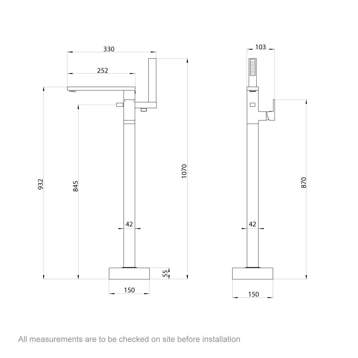 Dimensions for Mode Ellis freestanding bath filler tap