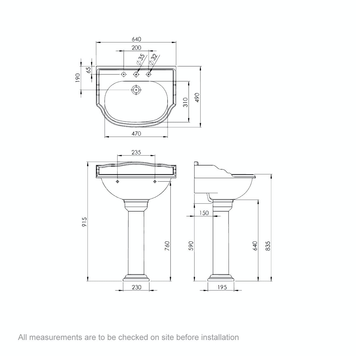 Dimensions for Belle de Louvain Charlet low level toilet and full pedestal suite with chrome fittings and taps