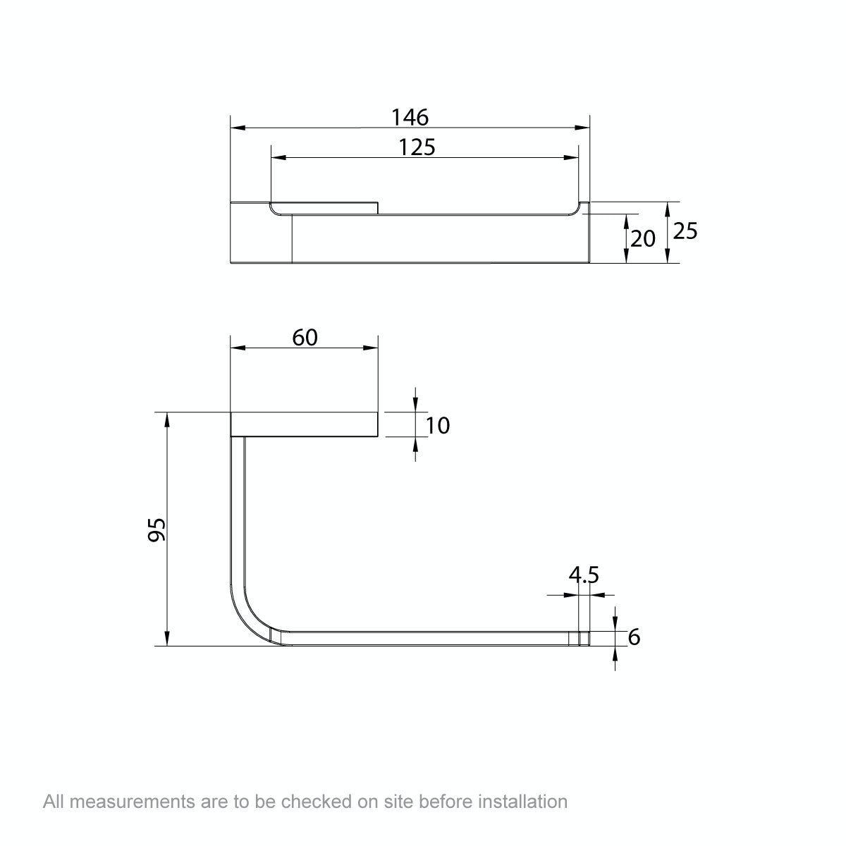 Dimensions for Mode Spencer brushed nickel toilet roll holder