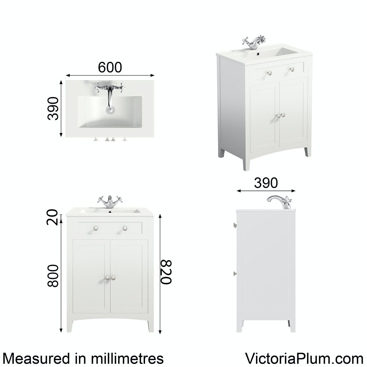 Dimensions for The Bath Co. Camberley white vanity unit with basin 600mm