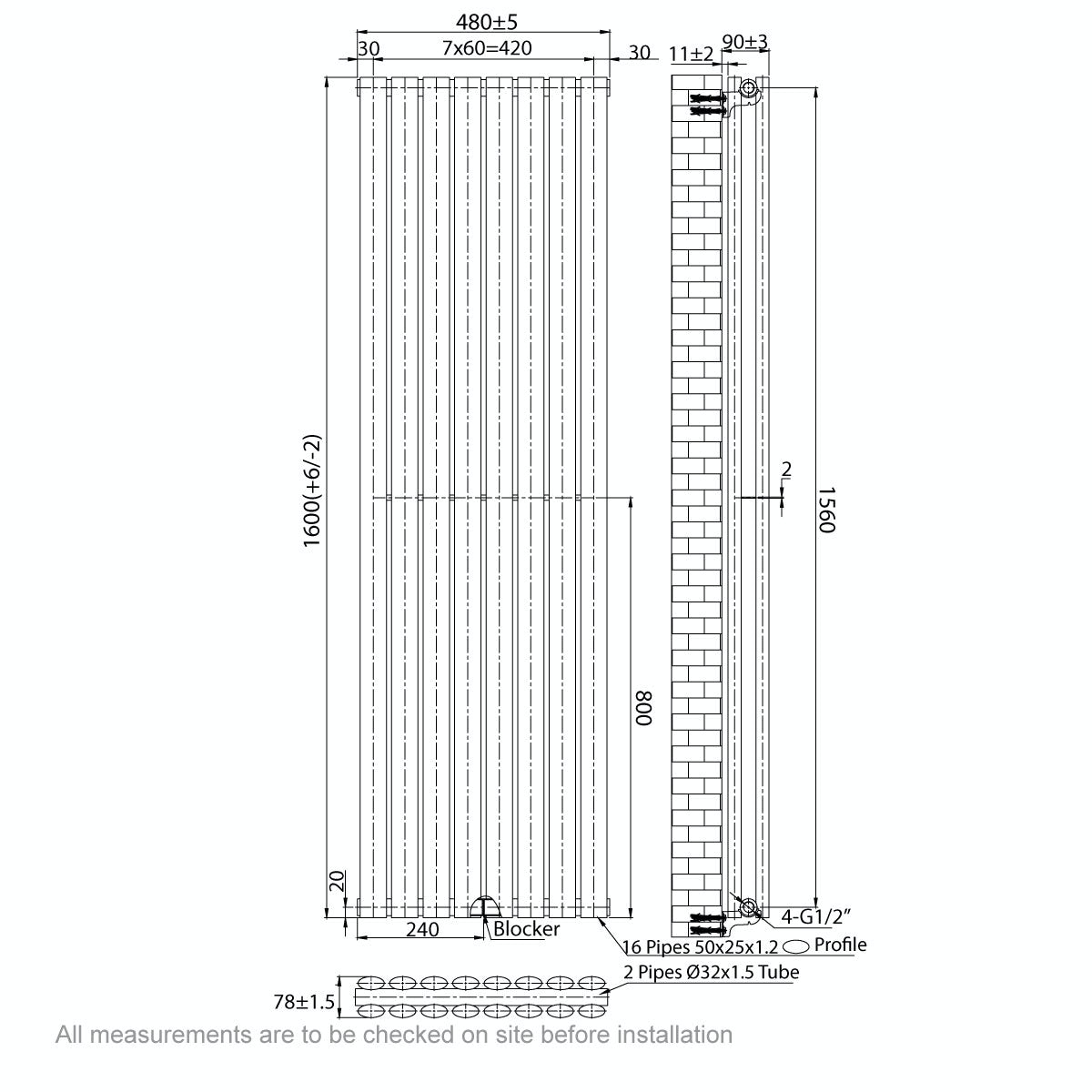 Dimensions for Mode Tate double vertical radiator 1600 x 480