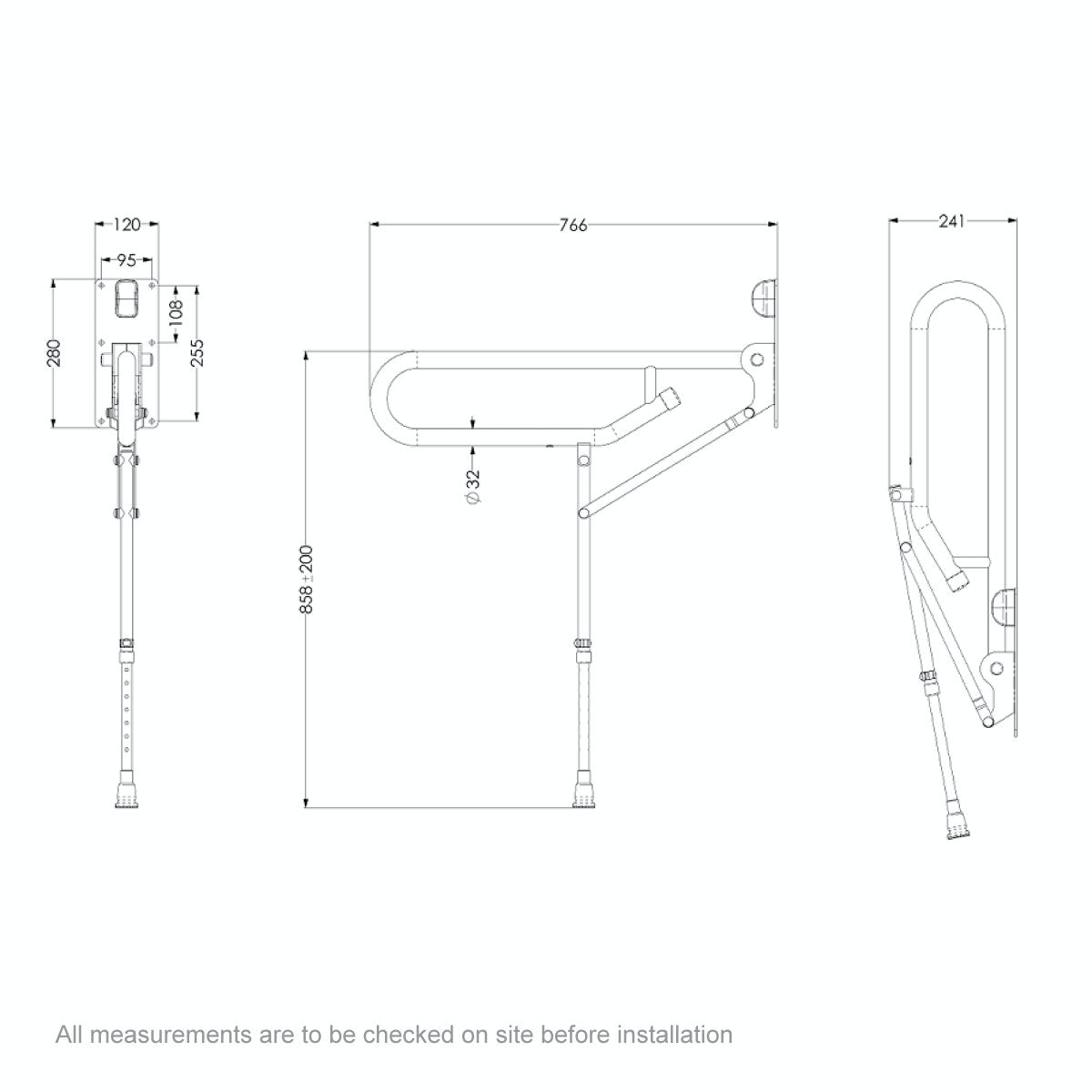 Dimensions for AKW Folding support grab rail with adjustable leg white