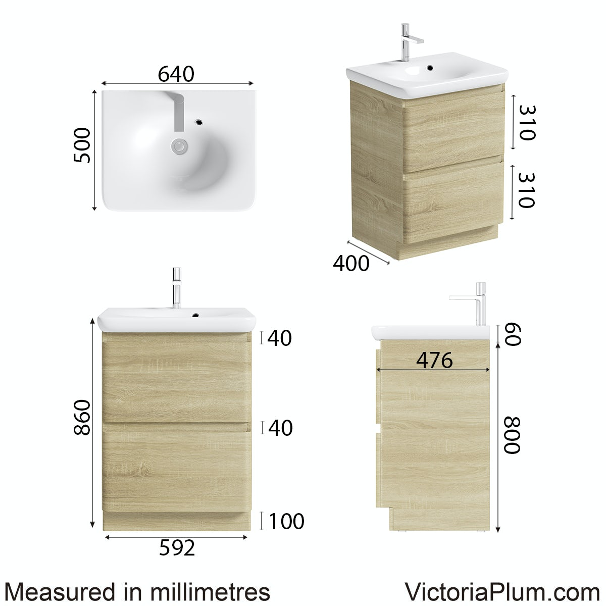 Dimensions for Mode Heath oak floor standing unit and basin 600mm