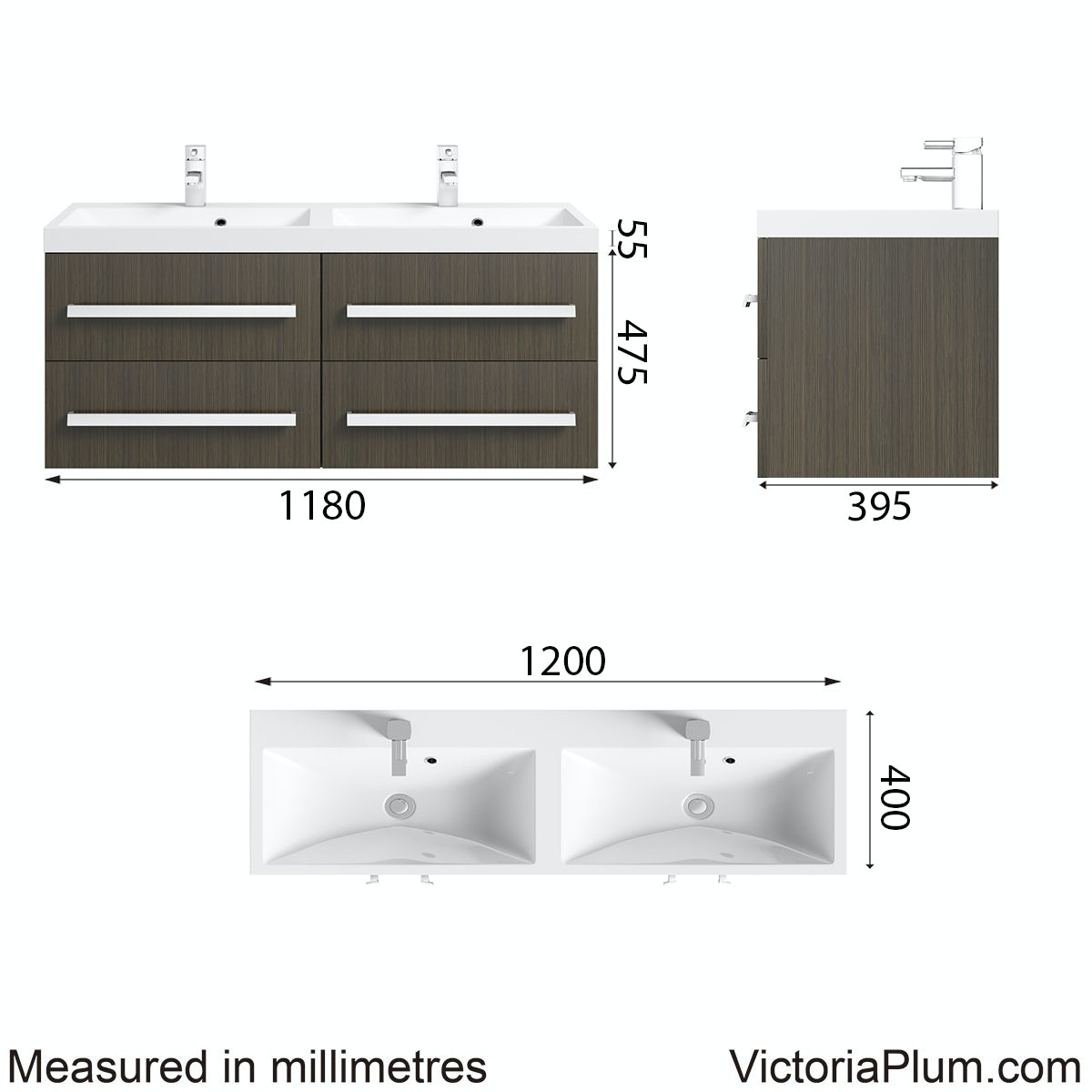 Dimensions for Orchard Wye walnut wall hung double basin unit 1200mm