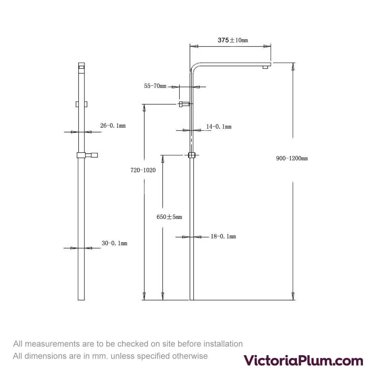 Dimensions for Orchard Wye thermostatic bar valve shower system