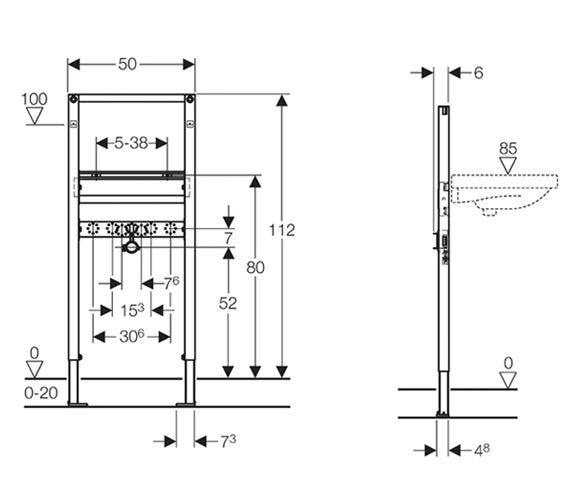 Dimensions for Geberit Duofix 1.12m basin frame