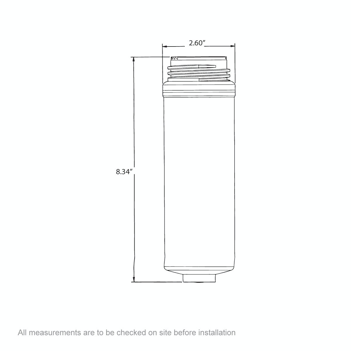 Dimensions for Ready Hot Replacement filter