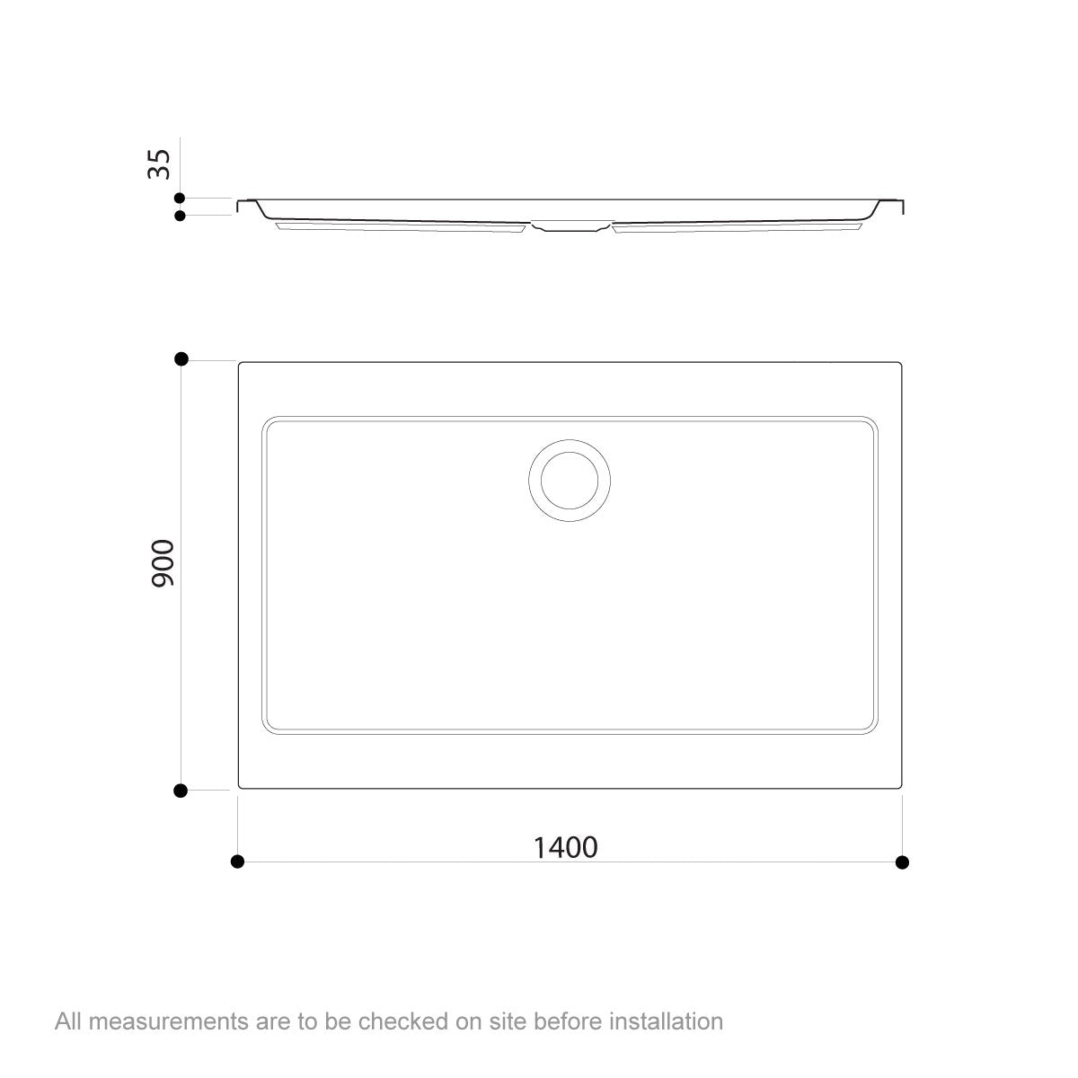 Dimensions for Jacuzzi Essentials matt white acrylic shower tray 1400 x 900