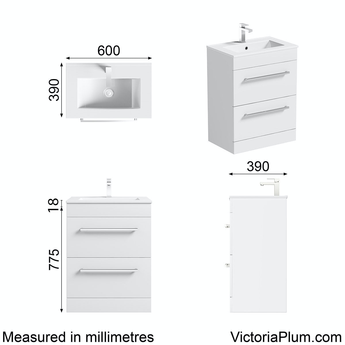Dimensions for Orchard Derwent white vanity drawer unit and basin 600mm