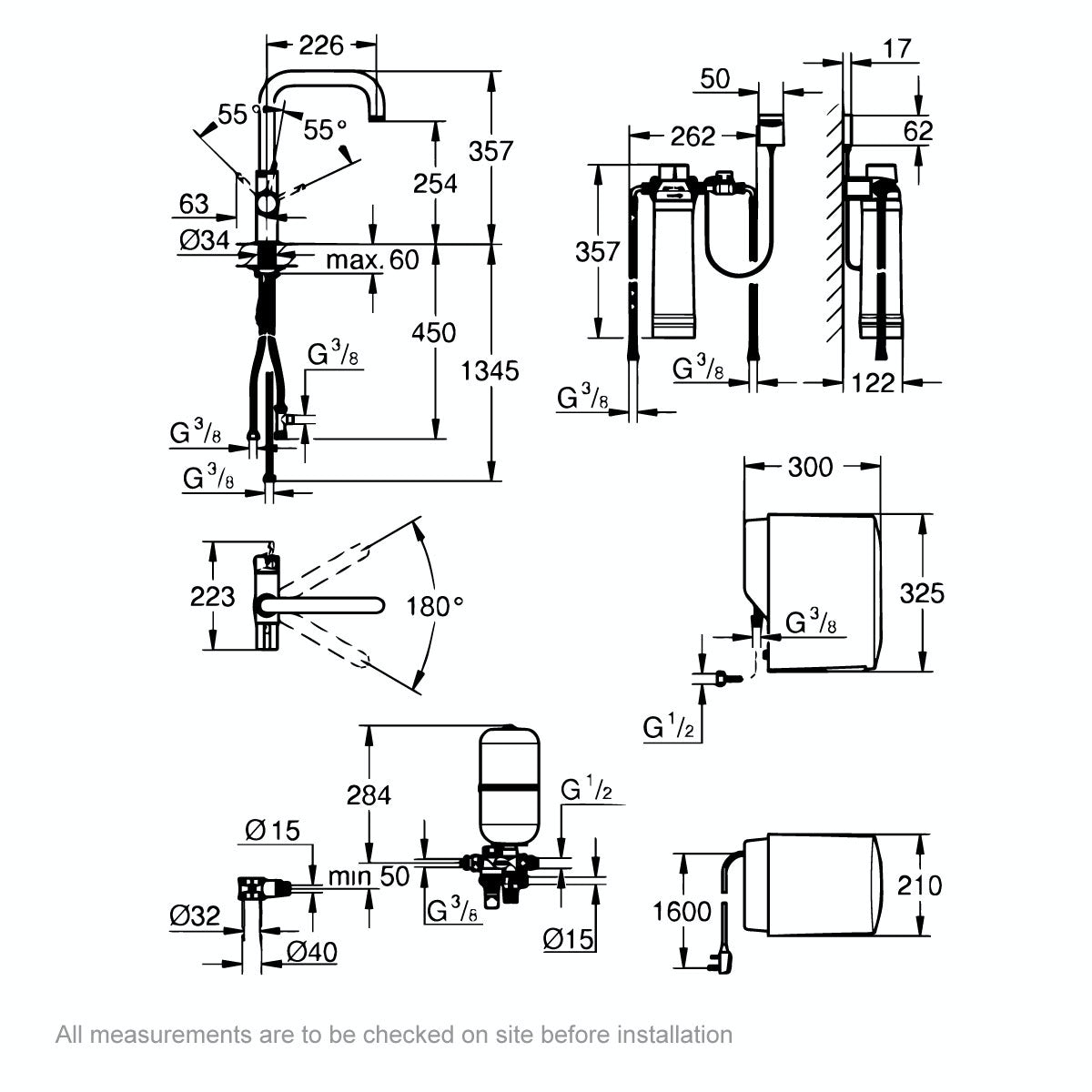 Dimensions for Grohe Red Duo U spout boiling water kitchen tap