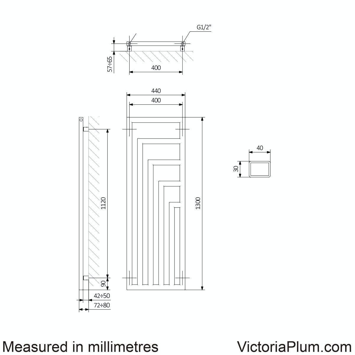 Dimensions for Terma Angus modern grey radiator 1300 x 440