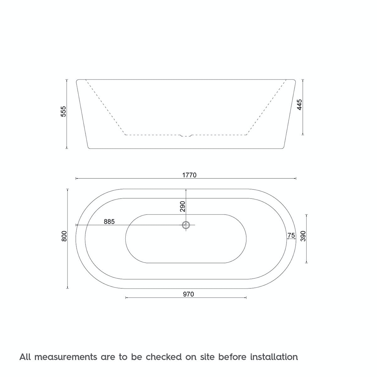 Dimensions for Crescent freestanding bath 1770 x 800 TV special