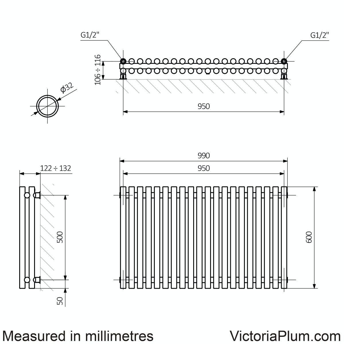 Dimensions for Terma Tune matt nickel double horizontal radiator 600 x 990