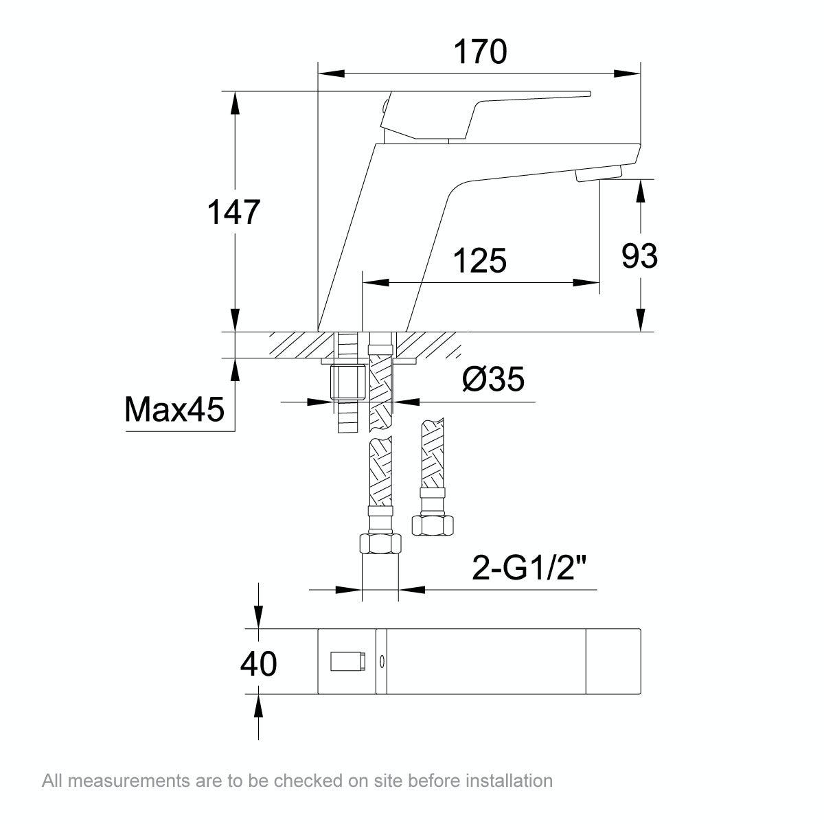 Dimensions for Mode Carter basin mixer tap