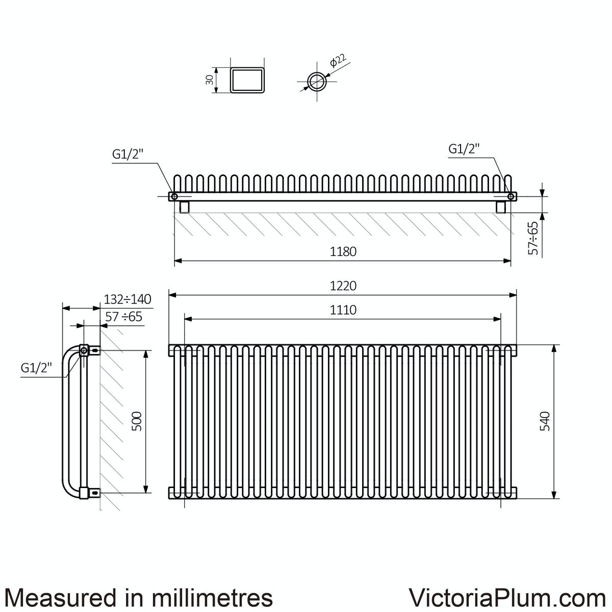 Dimensions for Terma Delfin soft white horizontal radiator 540 x 1220