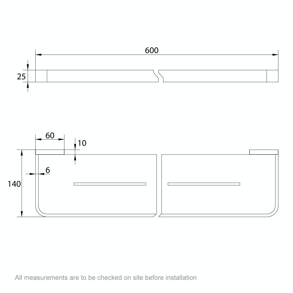 Dimensions for Mode Spencer brushed nickel bathroom shelf