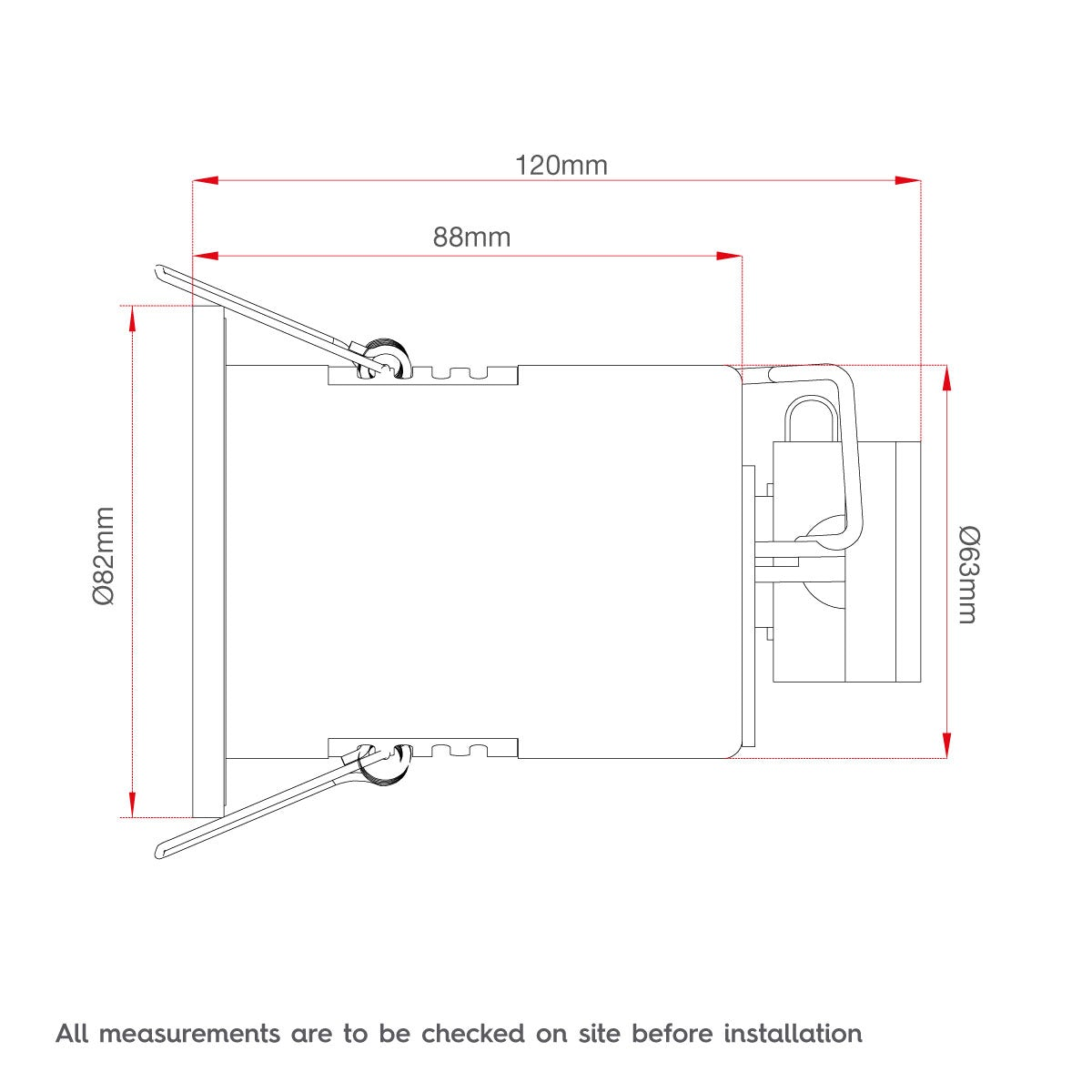 Dimensions for Forum IP65 fire rated cool white shower light in chrome