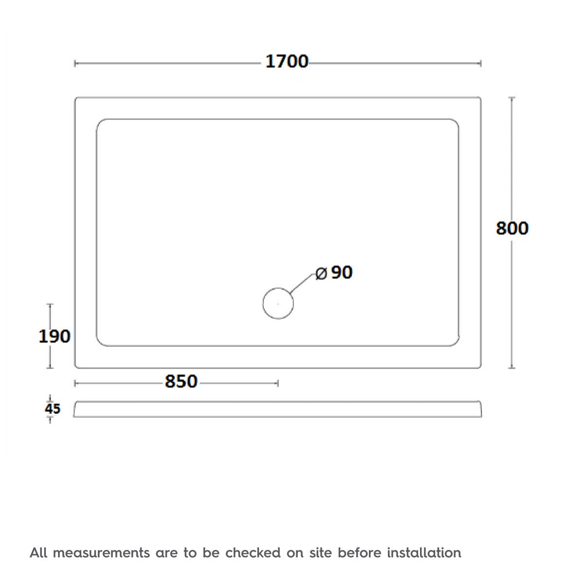 Dimensions for 1700 x 800