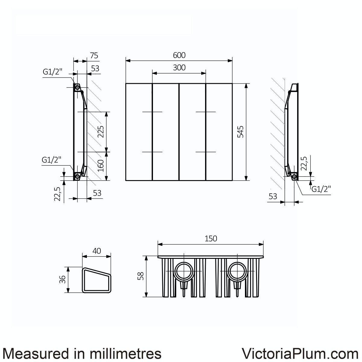 Dimensions for Terma Neo soft white and zinc yellow horizontal radiator 545 x 600