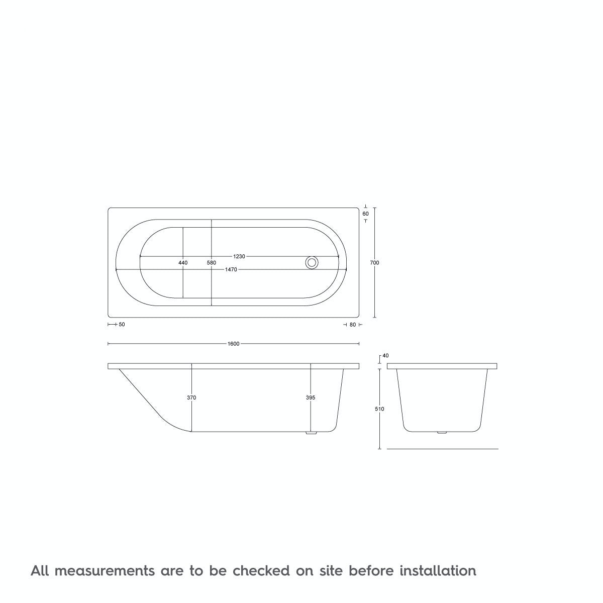 Dimensions for Mode Richmond single end 6 jet whirlpool bath 1600 x 700