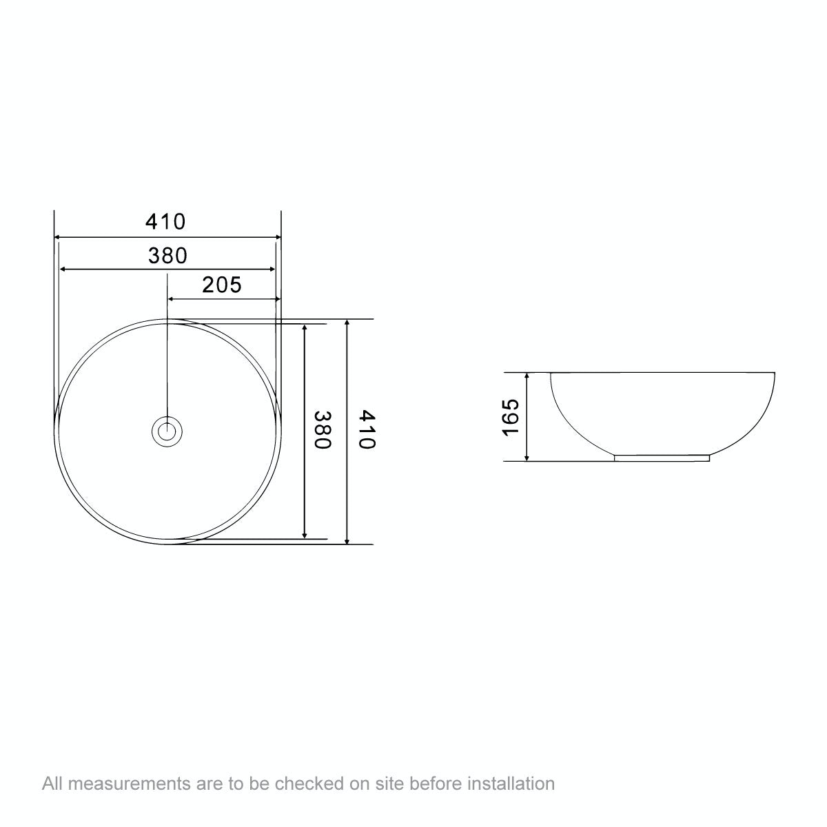 Dimensions for Orchard Eden countertop basin 400mm