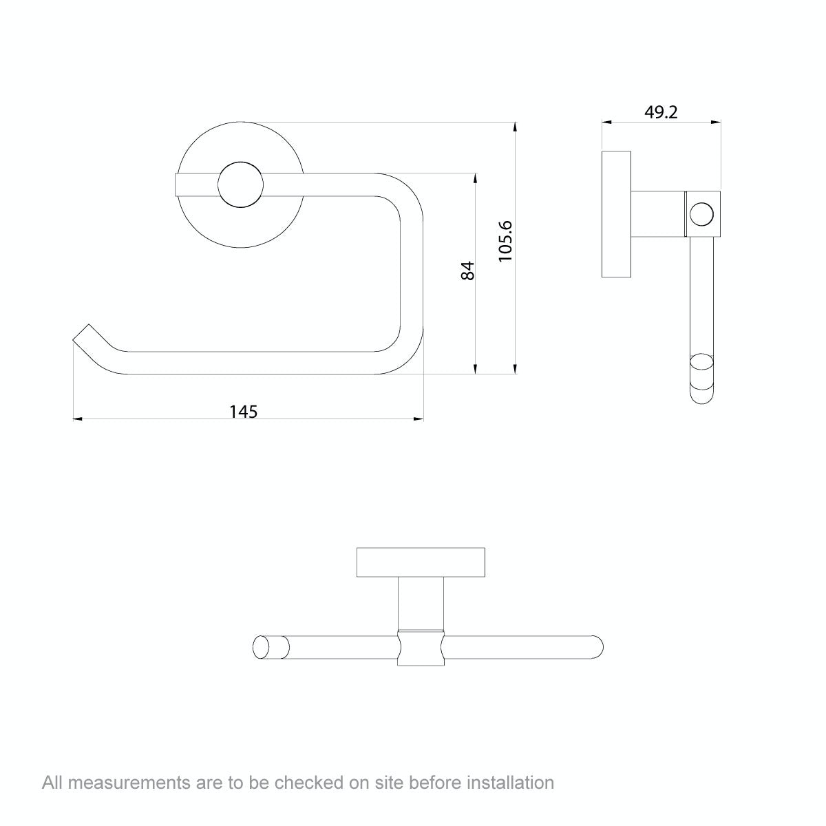 Dimensions for Orchard Lunar toilet roll holder