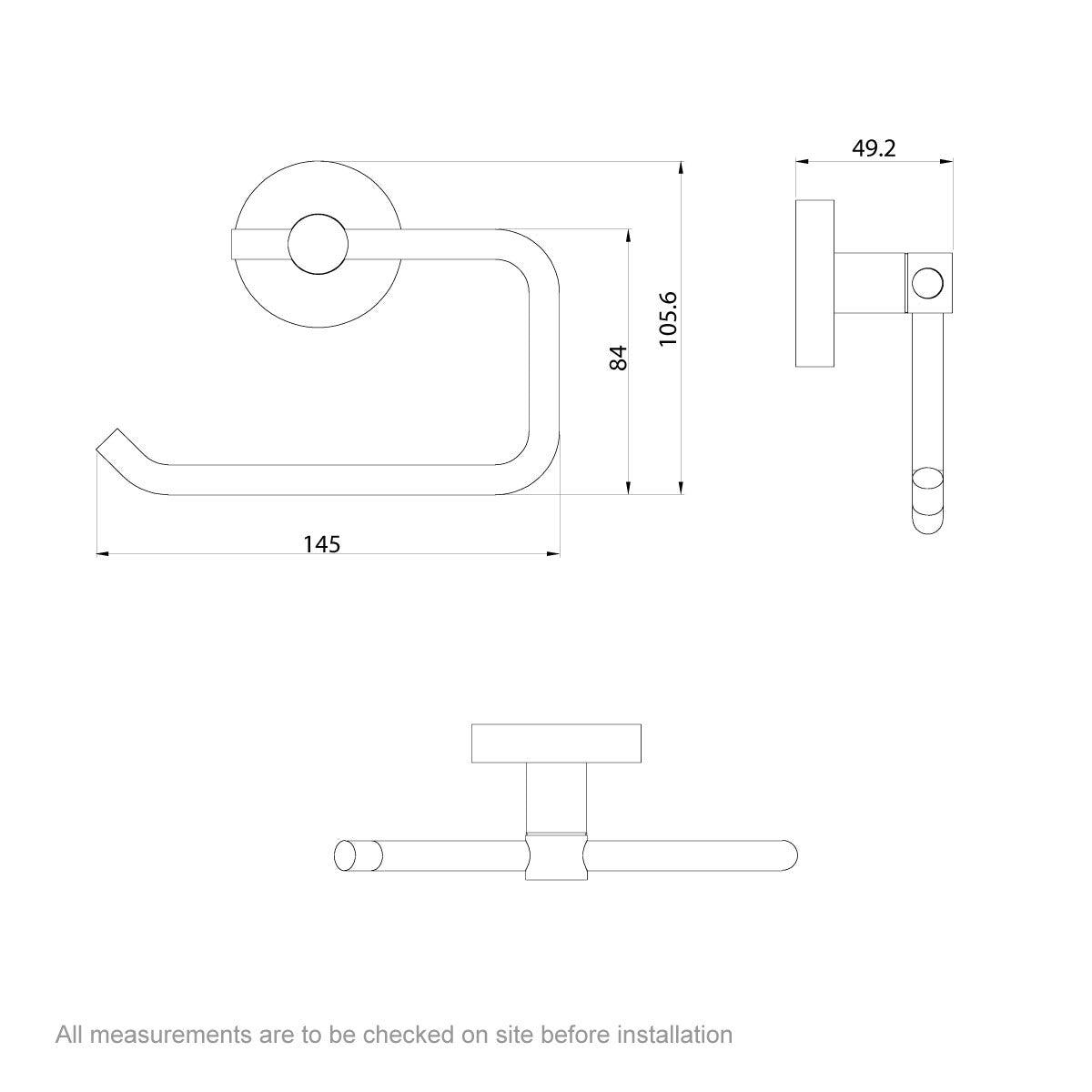 Dimensions for Lunar toilet roll holder