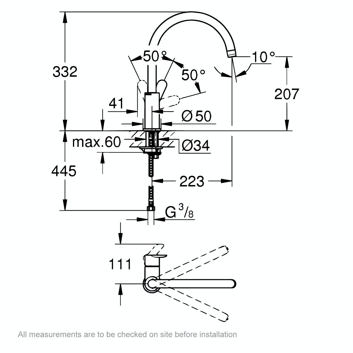 Dimensions for Grohe BauEdge kitchen tap