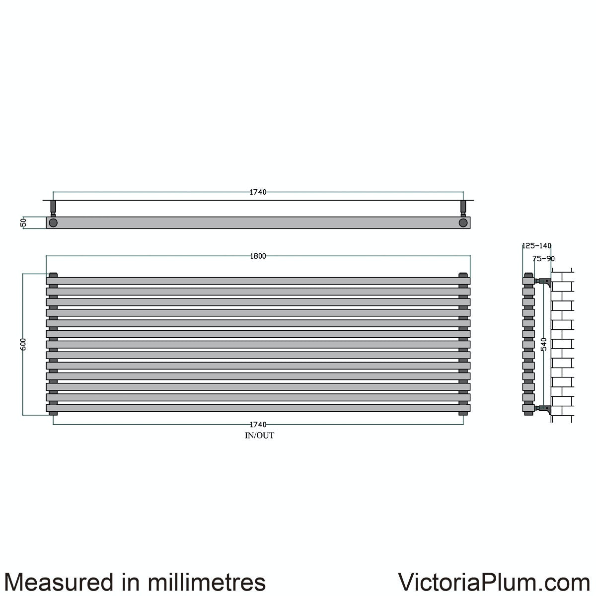 Dimensions for Mode Cadence horizontal radiator 600 x 1800