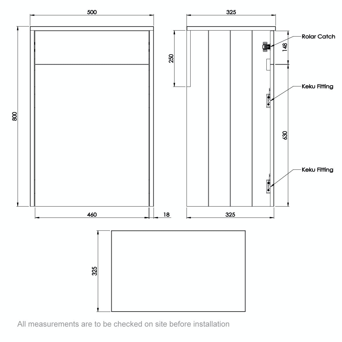 Dimensions for The Bath Co. Dulwich grey back to wall toilet unit