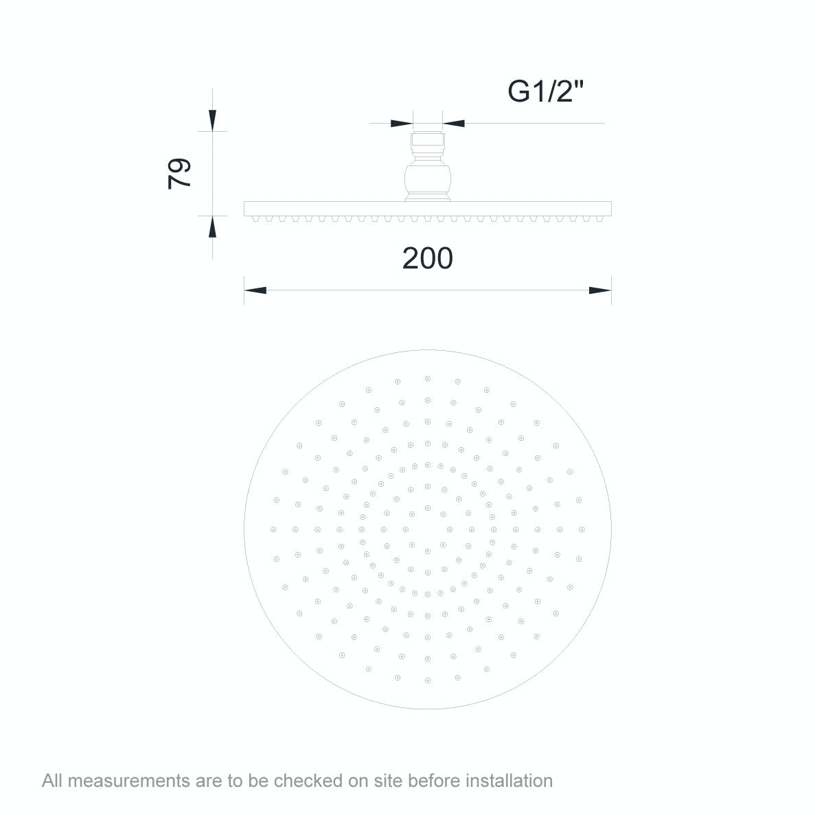 Dimensions for Orchard Round plastic shower head 200mm