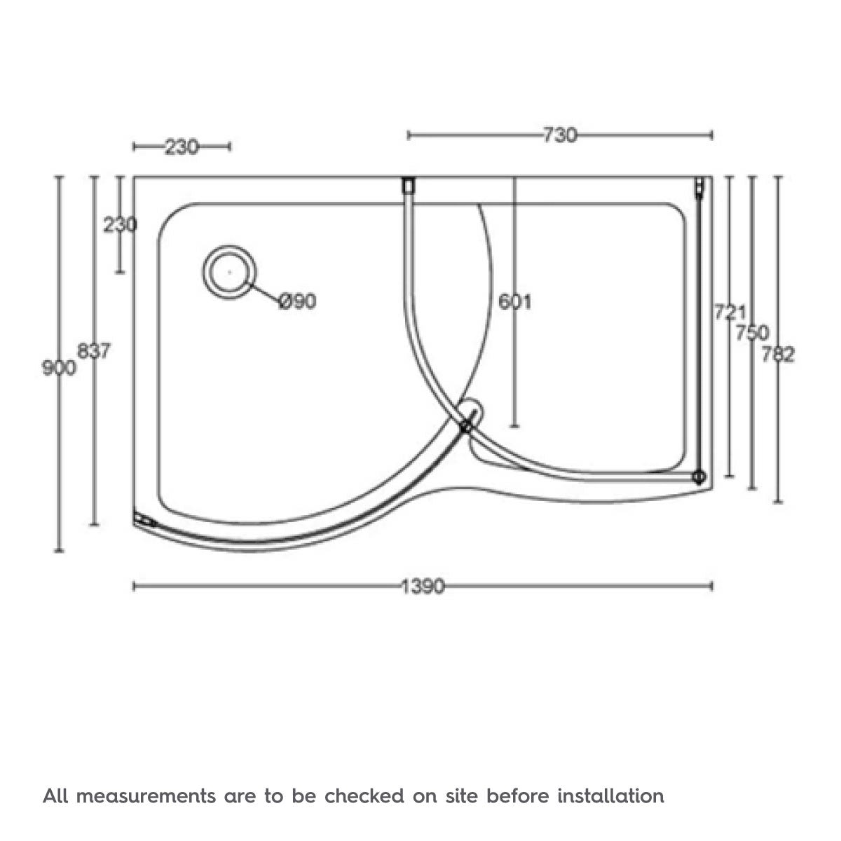 Dimensions for Orchard Curved Walk In Shower Enclosure Tray LH