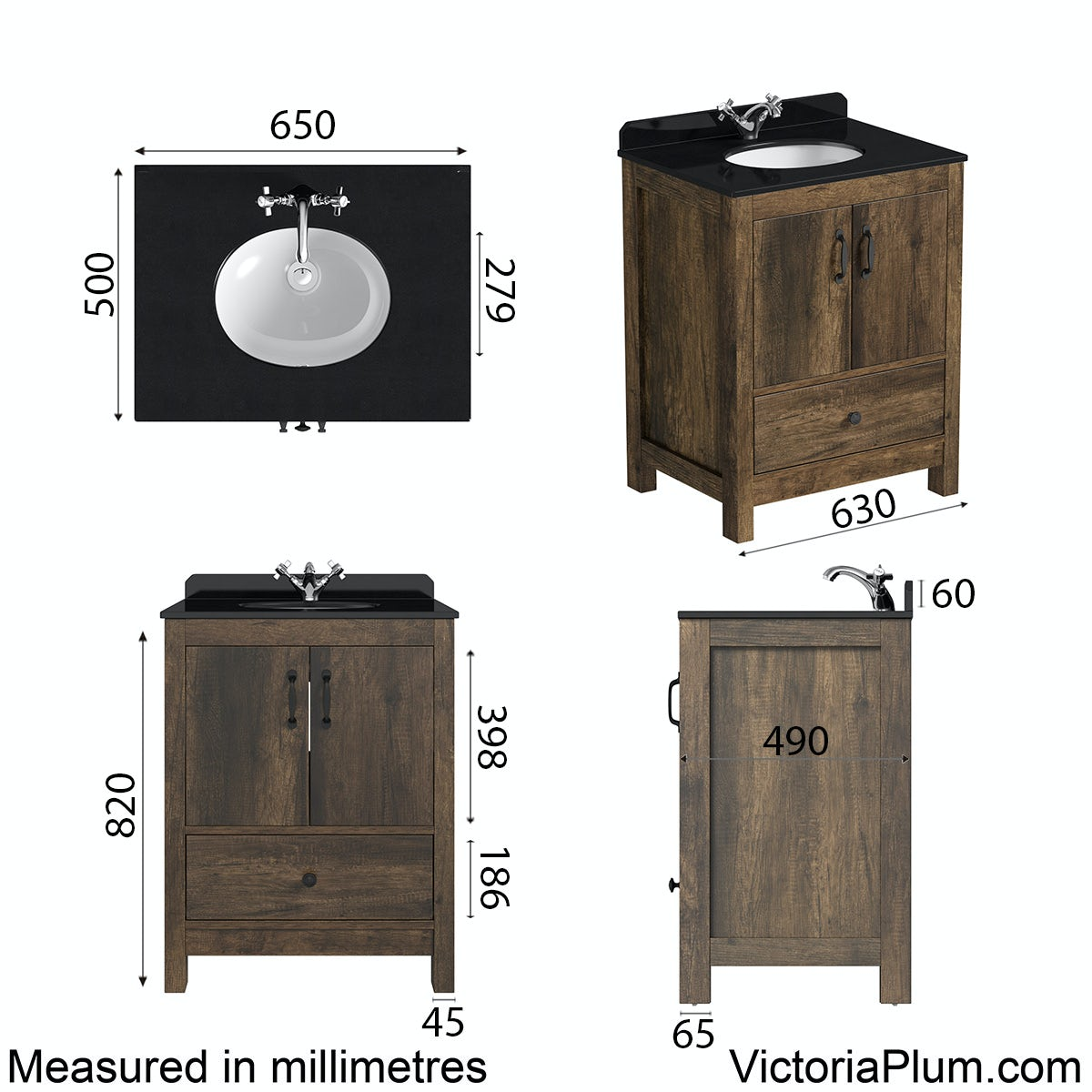 Dimensions for The Bath Co. Dalston vanity unit and black marble basin 650mm