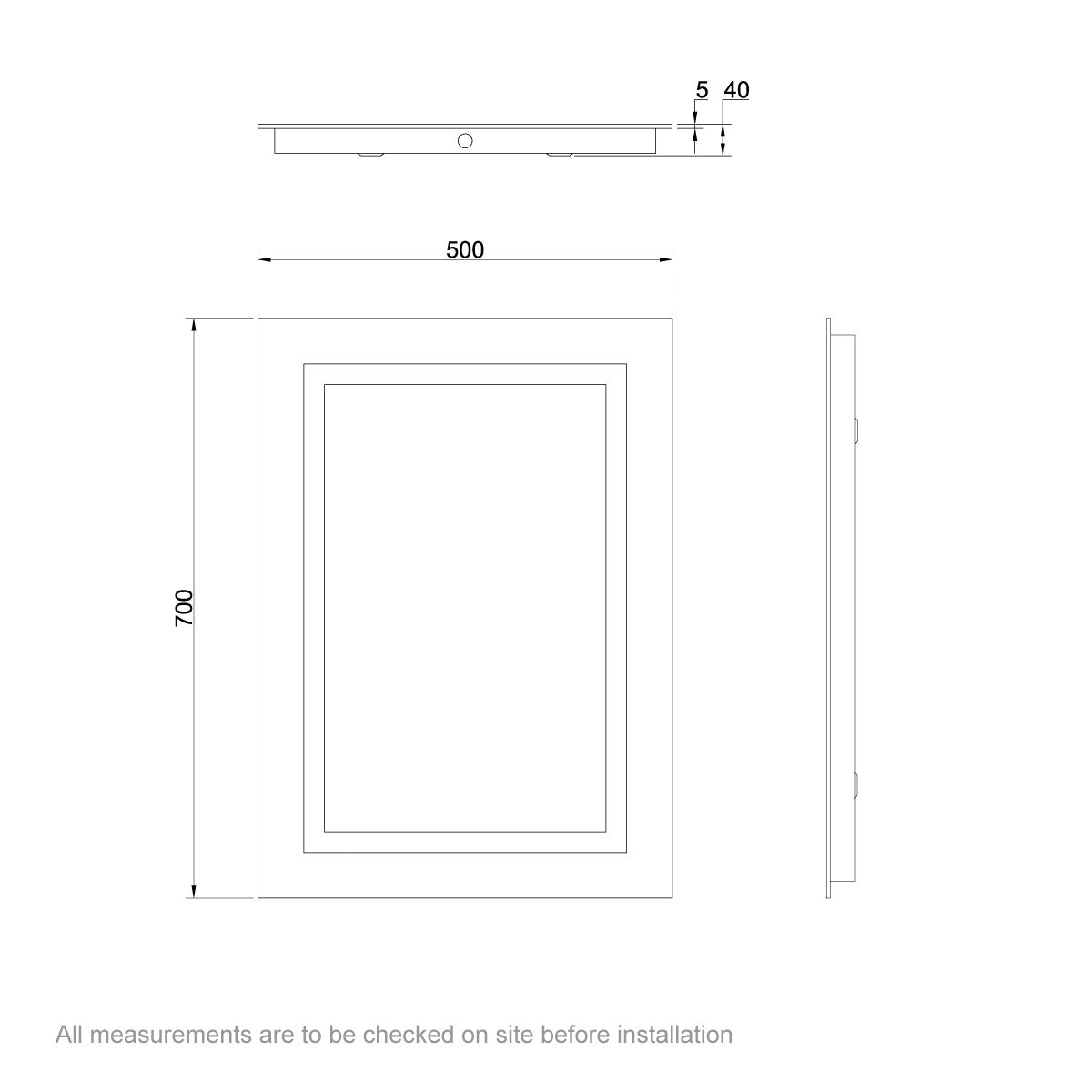 Dimensions for Mode Shine rectangular LED mirror