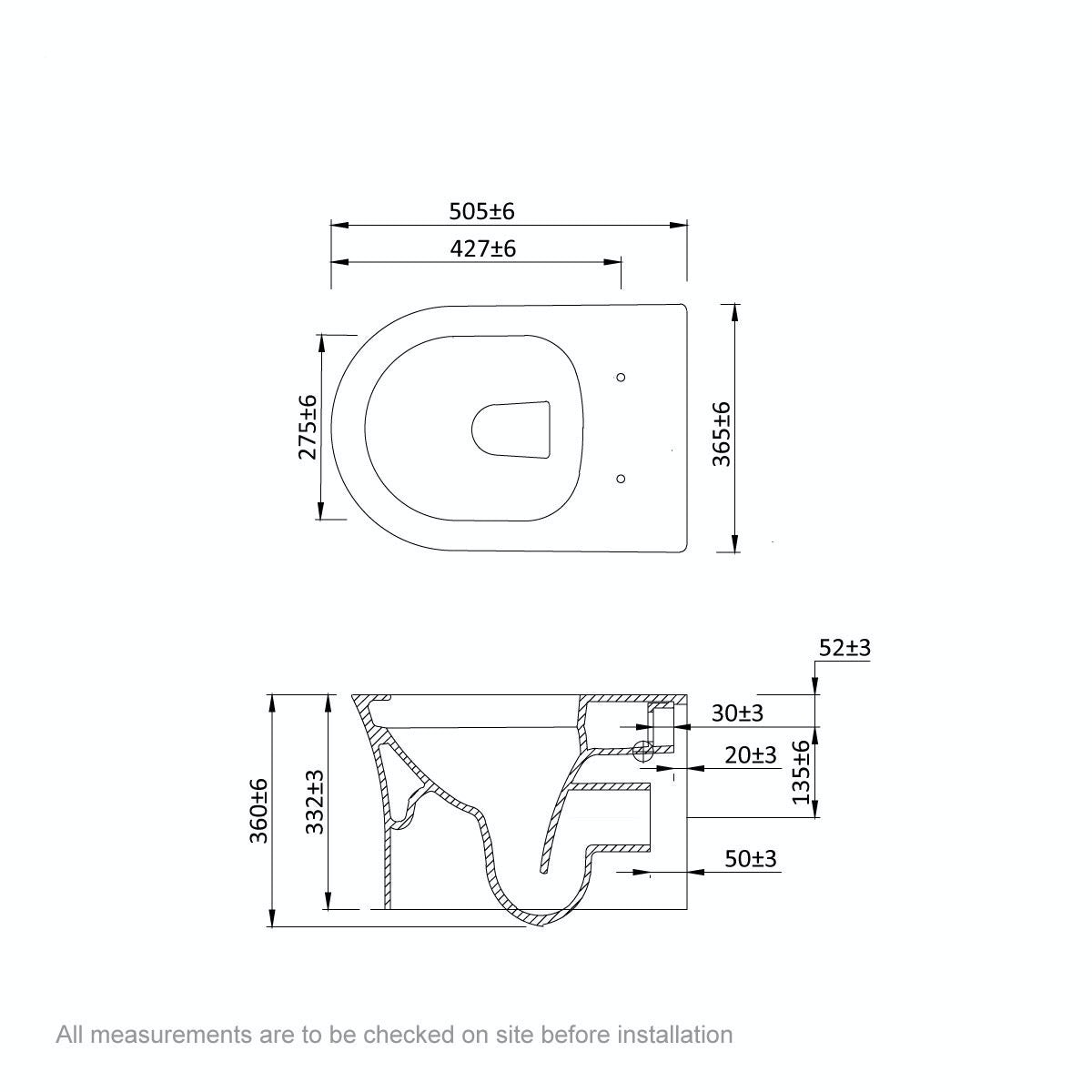 Dimensions for Mode Hardy rimless wall hung toilet with soft close seat