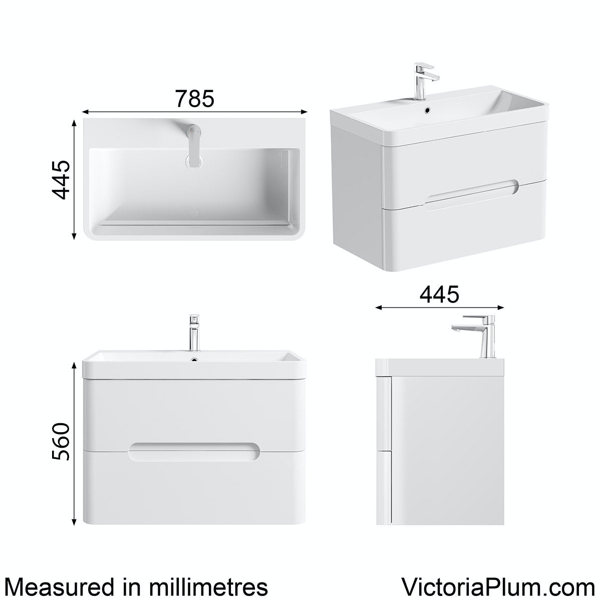 Dimensions for Mode Ellis white wall hung vanity drawer unit and basin 800mm