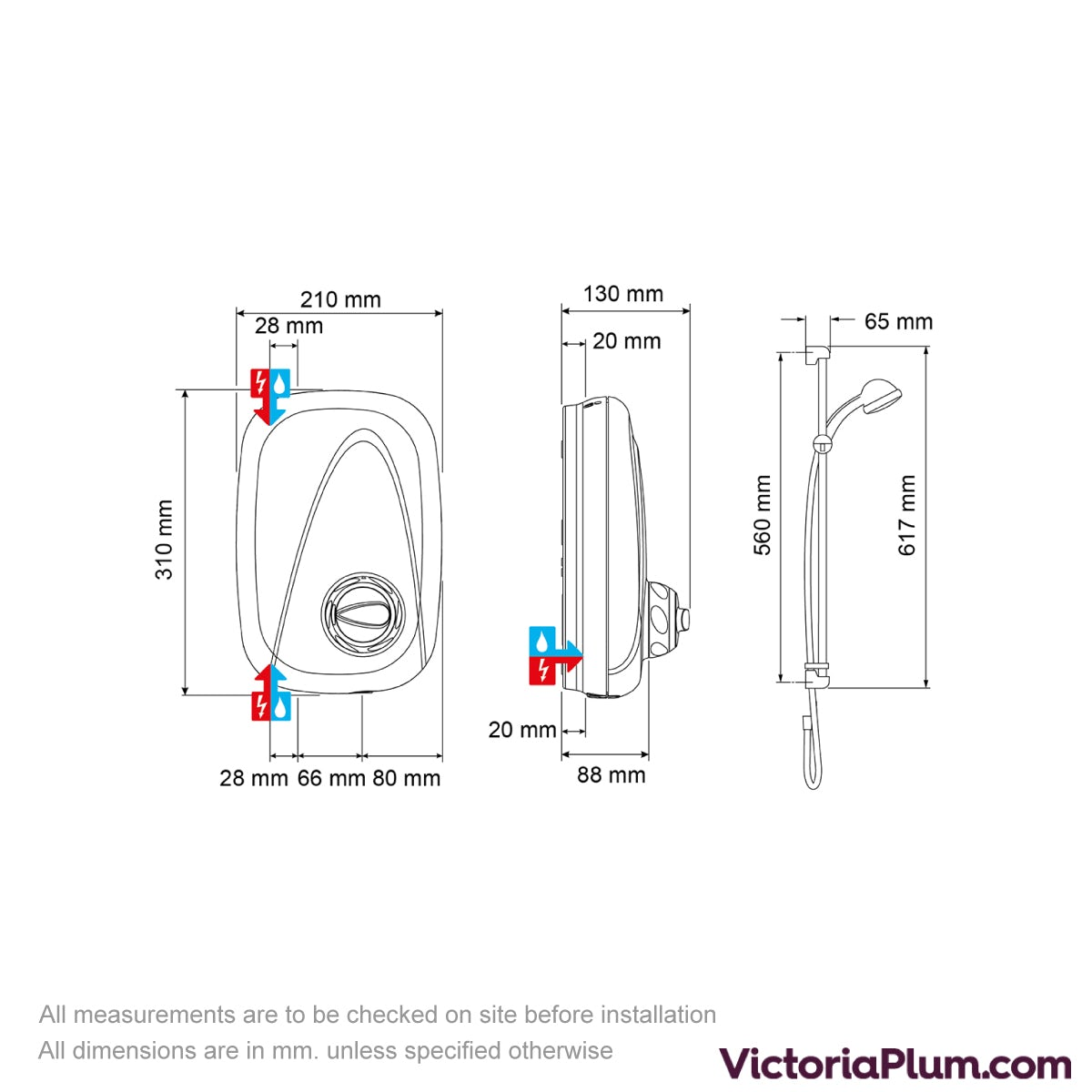 Dimensions for Mira Vigour manual power shower