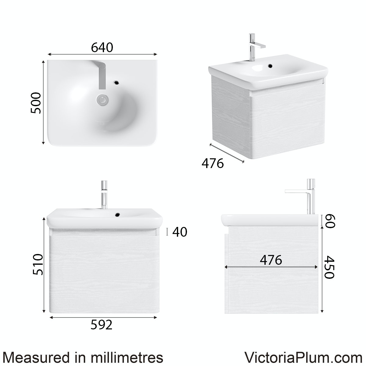 Dimensions for Mode Heath white wall hung vanity unit and basin 600mm