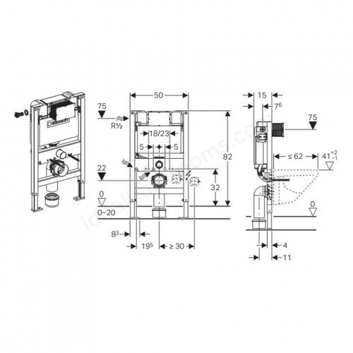 Dimensions for Geberit Duofix WC frame 0.82m with Kappa UP200 cistern